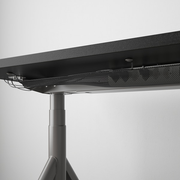 IDÅSEN desk sit/stand black/dark grey 160 cm 80 cm 63 cm 127 cm 70 kg