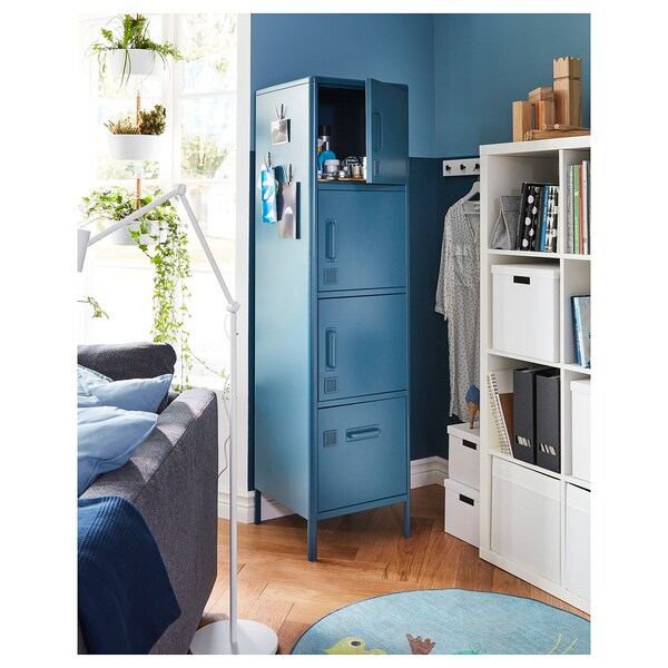 IDÅSEN high cabinet with drawer and doors blue 45 cm 47 cm 172 cm