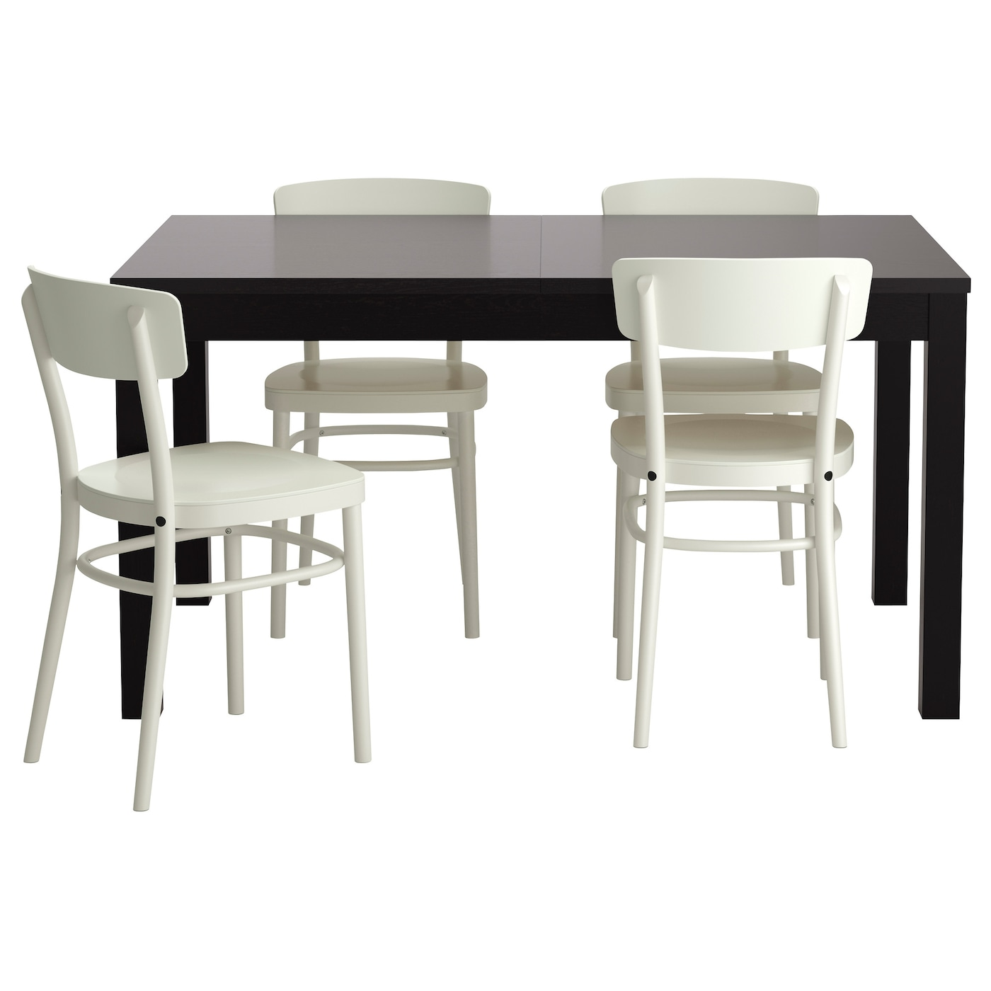 IKEA IDOLF/BJURSTA table and 4 chairs The clear-lacquered surface is easy to wipe clean.