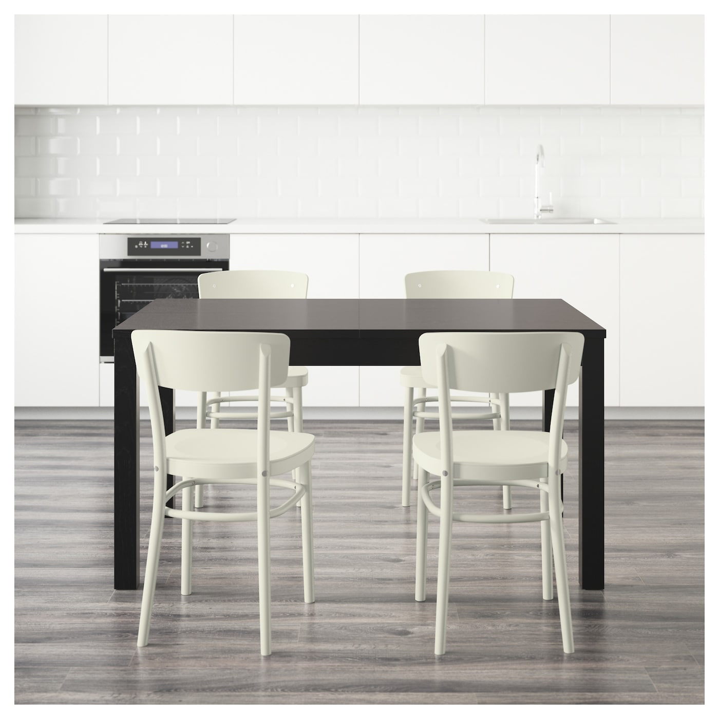 idolf bjursta table and 4 chairs black brown white 140 cm ikea. Black Bedroom Furniture Sets. Home Design Ideas