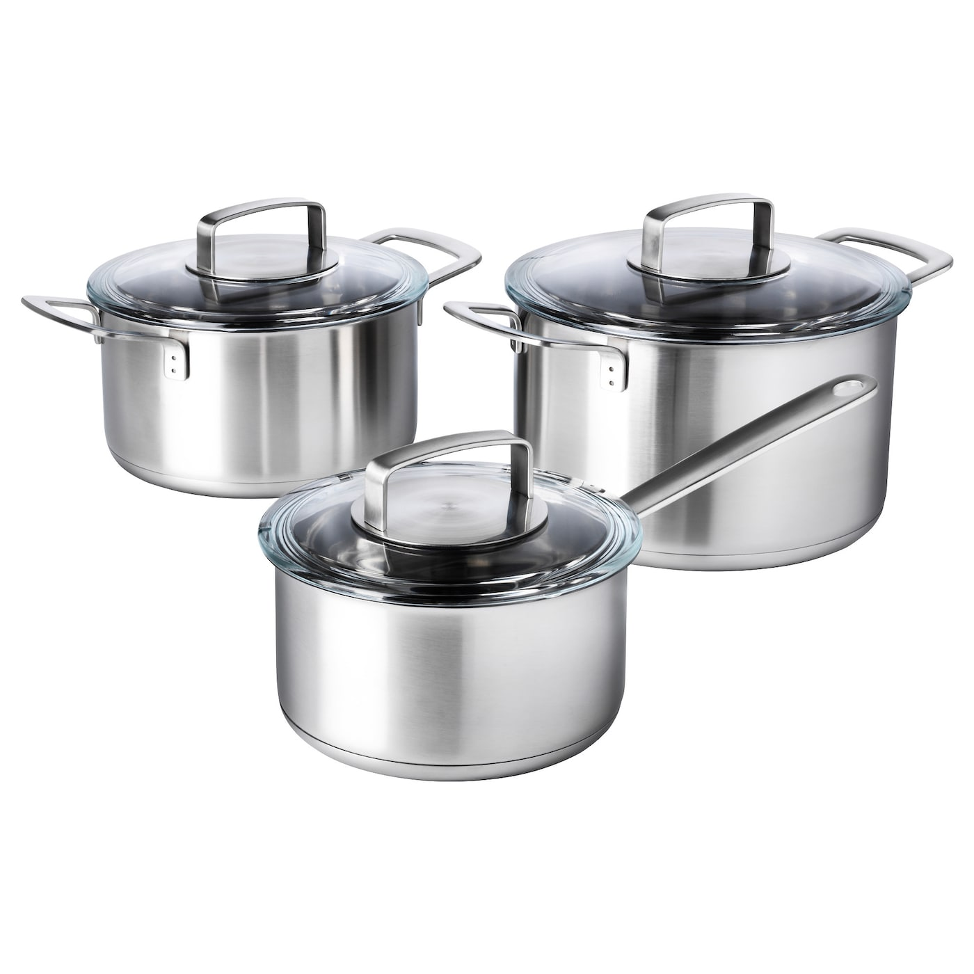 Ikea 365 6 piece cookware set stainless steel glass ikea for Art and cuisine cookware