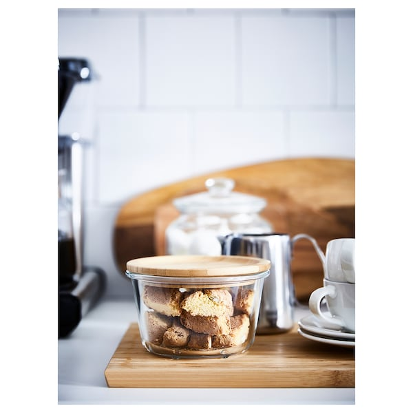 IKEA 365+ Food container with lid, round glass/bamboo, 600 ml