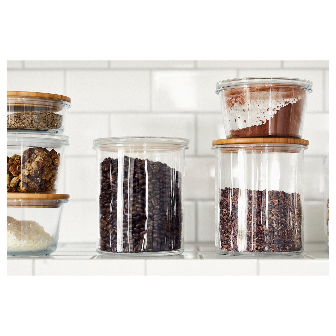 IKEA 9+ Jar with lid - glass/bamboo 9.9 l