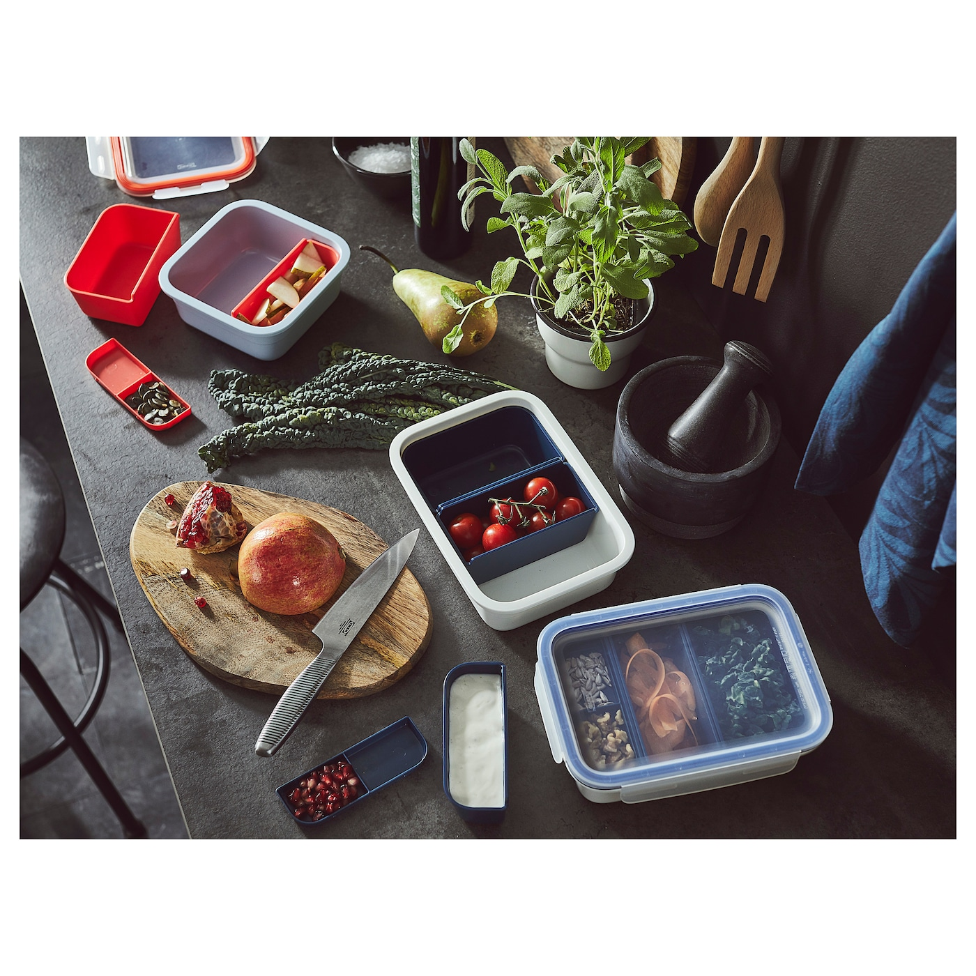 IKEA 365+ Lunch Box With Inserts Square 750 Ml