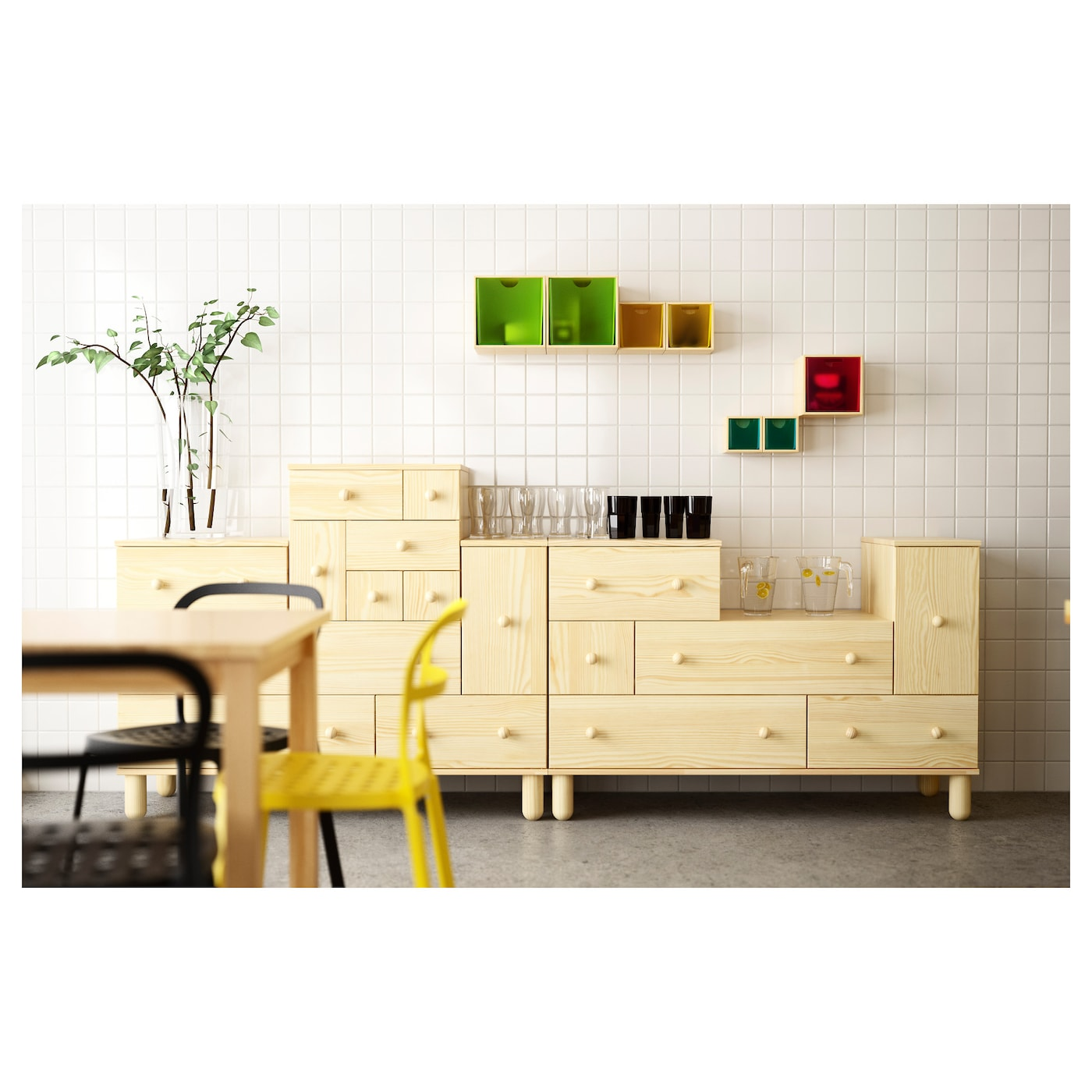 ikea ps 2012 chest of 5 drawers 1 door pine 130x48x86 cm ikea. Black Bedroom Furniture Sets. Home Design Ideas
