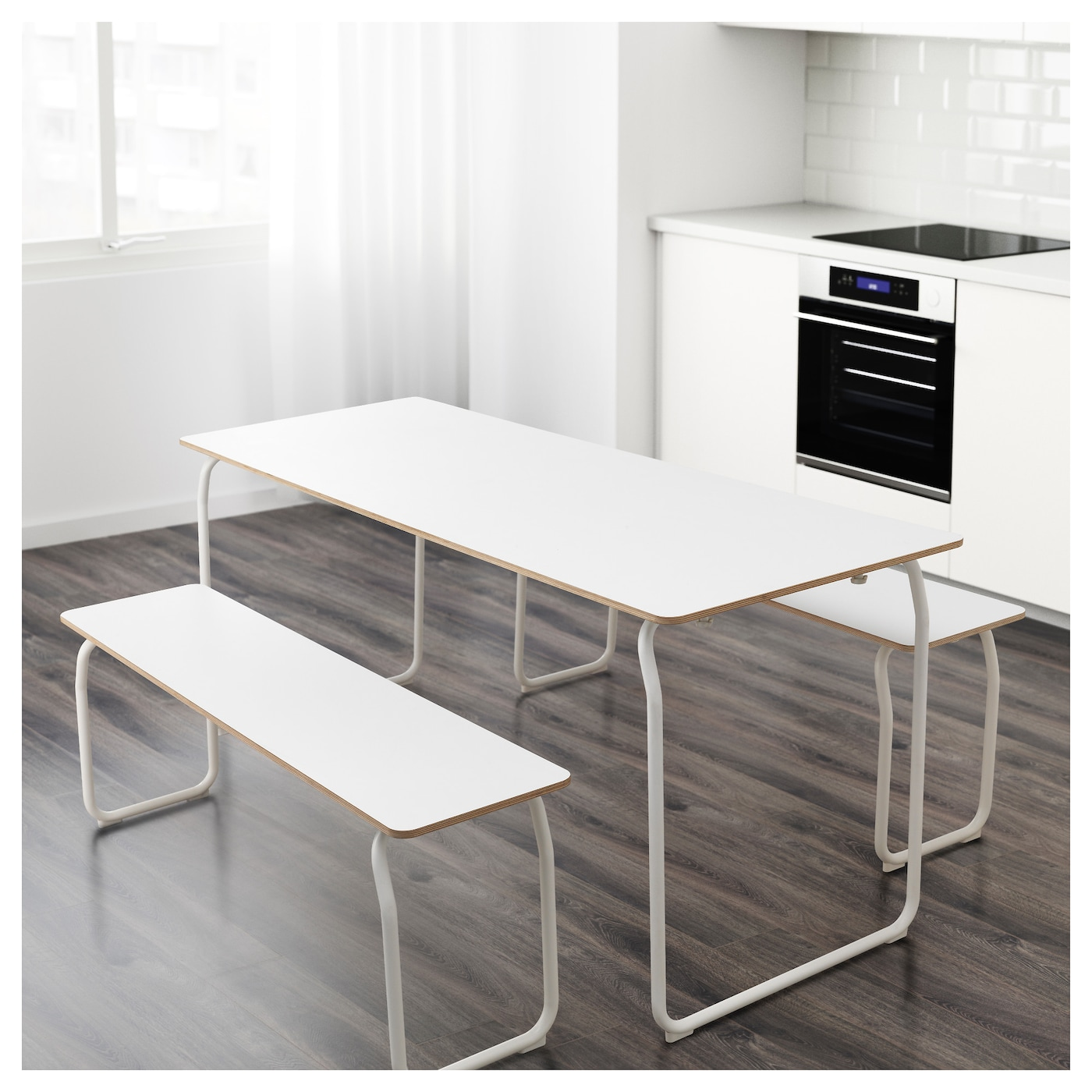 ikea ps 2014 table 2 benches in outdoor white foldable ikea. Black Bedroom Furniture Sets. Home Design Ideas