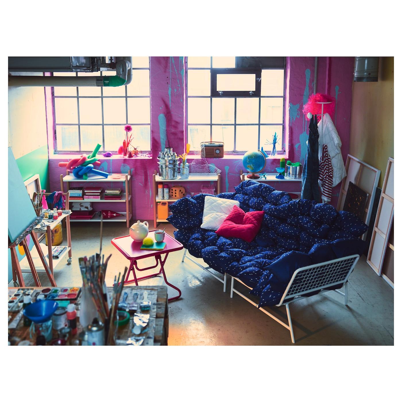 ikea ps 2017 2 seat sofa with 36 cushions white dark blue ikea. Black Bedroom Furniture Sets. Home Design Ideas