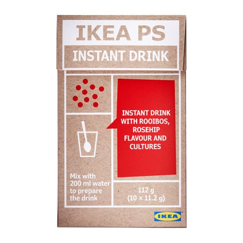 IKEA IKEA PS instant drink The water will release the colours and flavours of rooibos and rosehip.