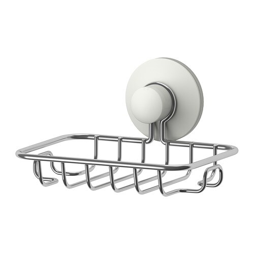 IKEA IMMELN soap dish With a suction cup that grips smooth surfaces.