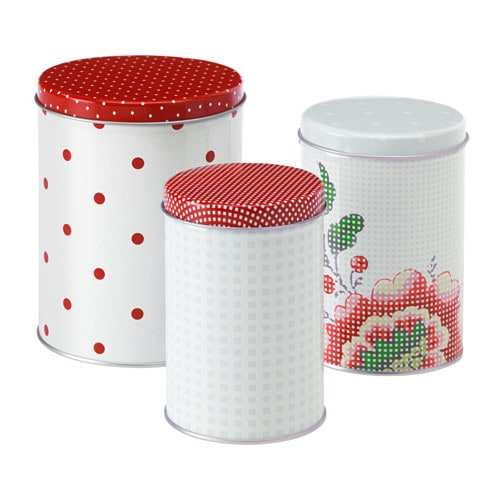 IKEA INBJUDANDE tin with lid, set of 3 Suitable for coffee, tea and other dry food.
