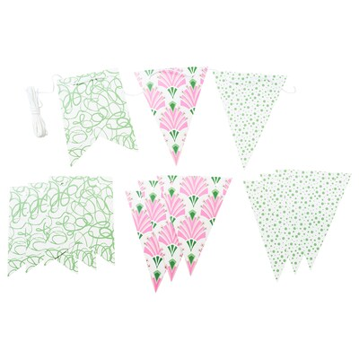 INBJUDEN Hanging decoration, flag assorted patterns/assorted colours, 4.0 m