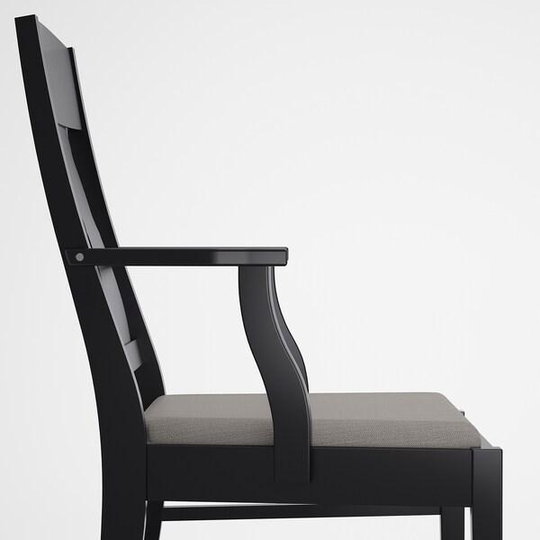 INGATORP Chair with armrests, black/Nolhaga grey-beige