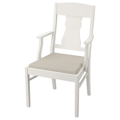 INGATORP Chair with armrests, white/Nordvalla beige