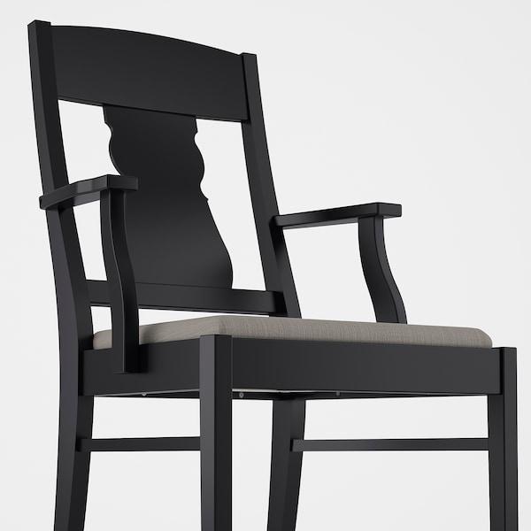 INGATORP black, Nolhaga greybeige grey beige, Chair with