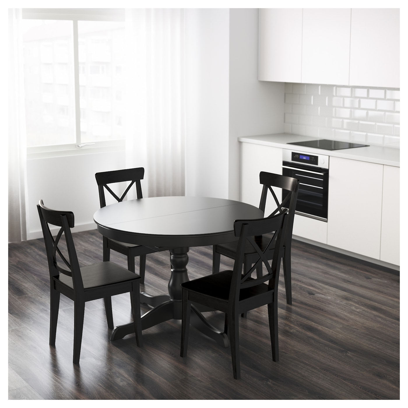 Ingatorp Extendable Table Black 110 155 Cm Ikea