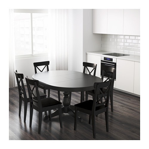 Ingatorp extendable table black 110 155 cm ikea for Table ronde 6 personnes ikea