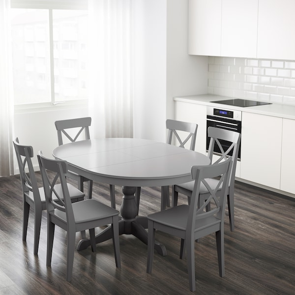 Ingatorp Grey Extendable Table Ikea