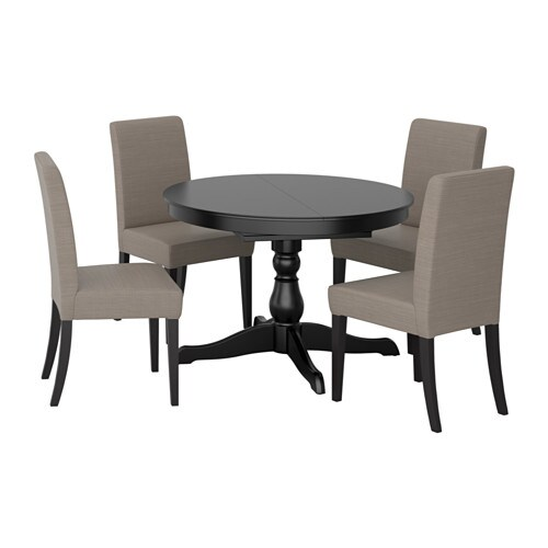 ingatorp henriksdal table and 4 chairs black nolhaga grey. Black Bedroom Furniture Sets. Home Design Ideas