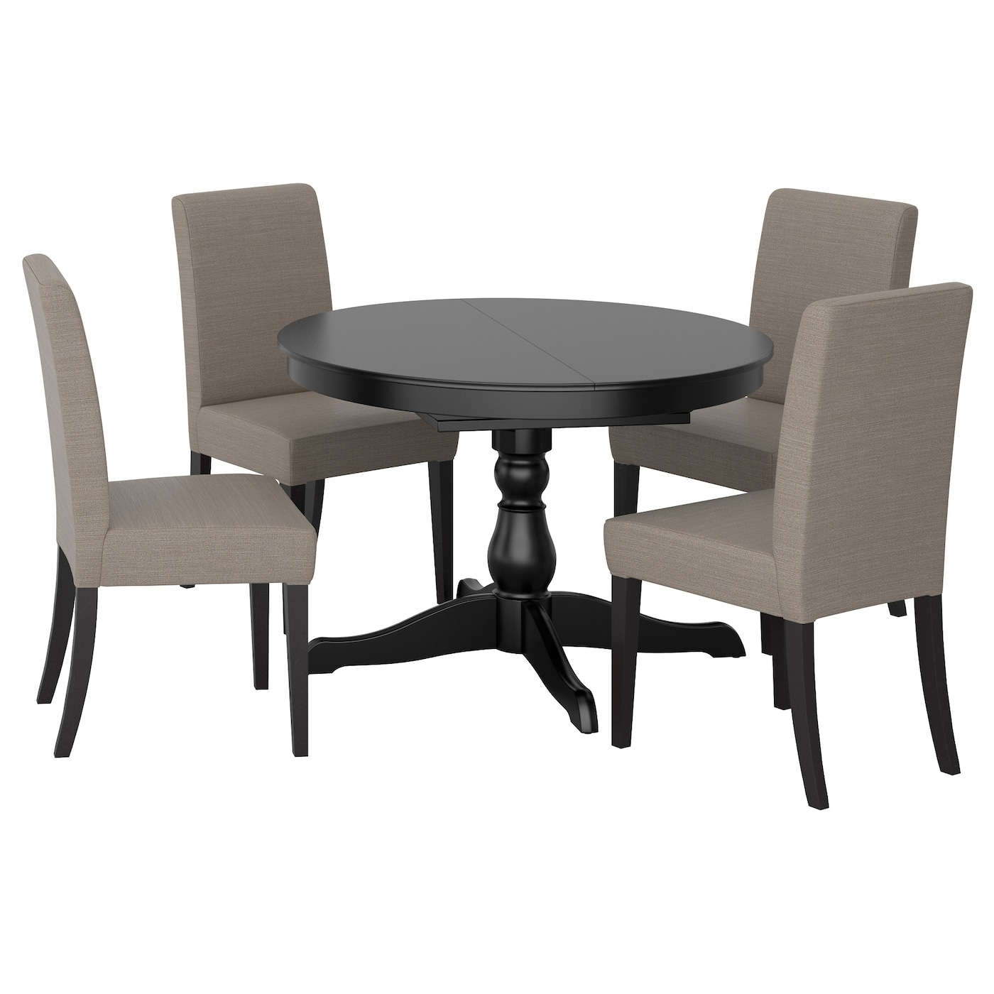 Ingatorp henriksdal table and 4 chairs black nolhaga grey for Set de table ikea