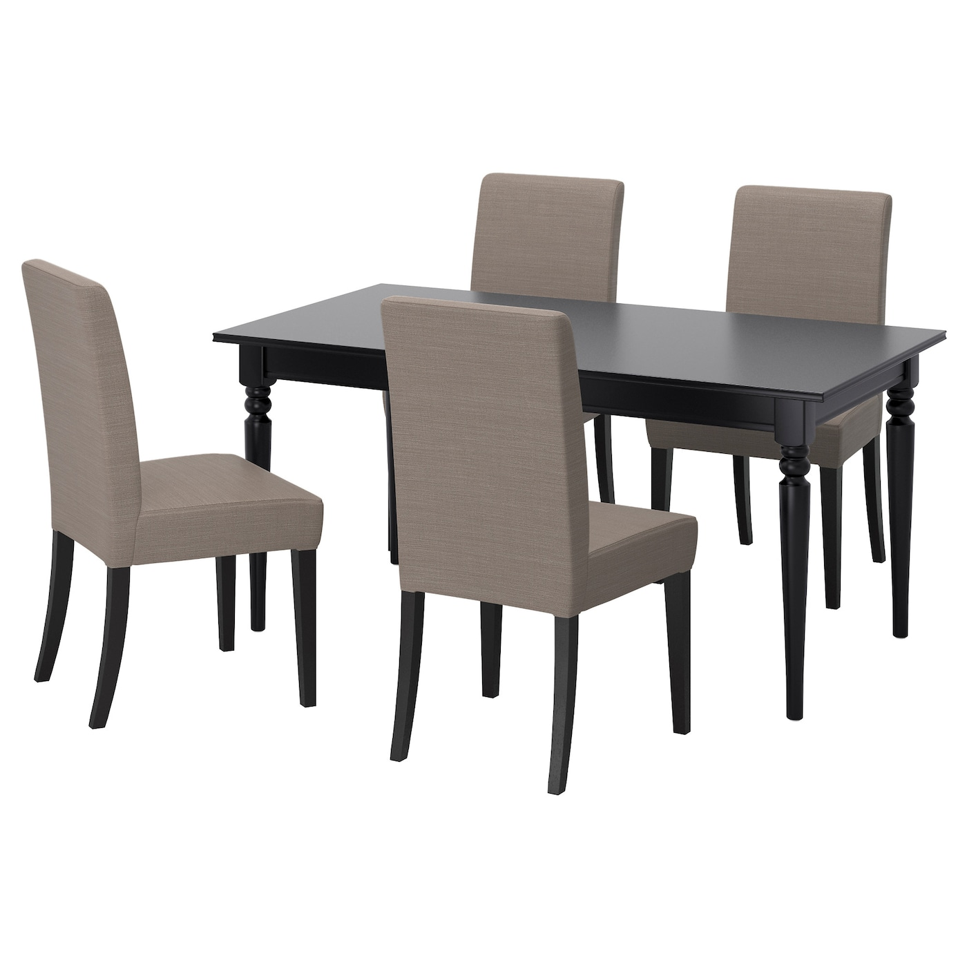 Ingatorp henriksdal table and 4 chairs black nolhaga grey for Table chaise ikea