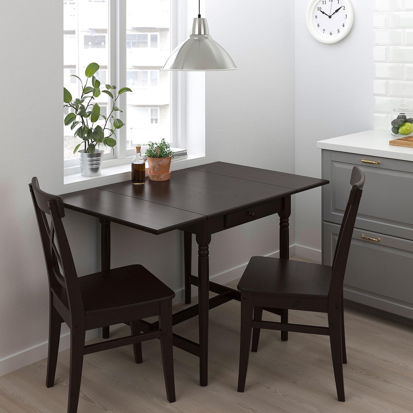 INGATORP / INGOLF Table and 2 chairs - black-brown/brown-black