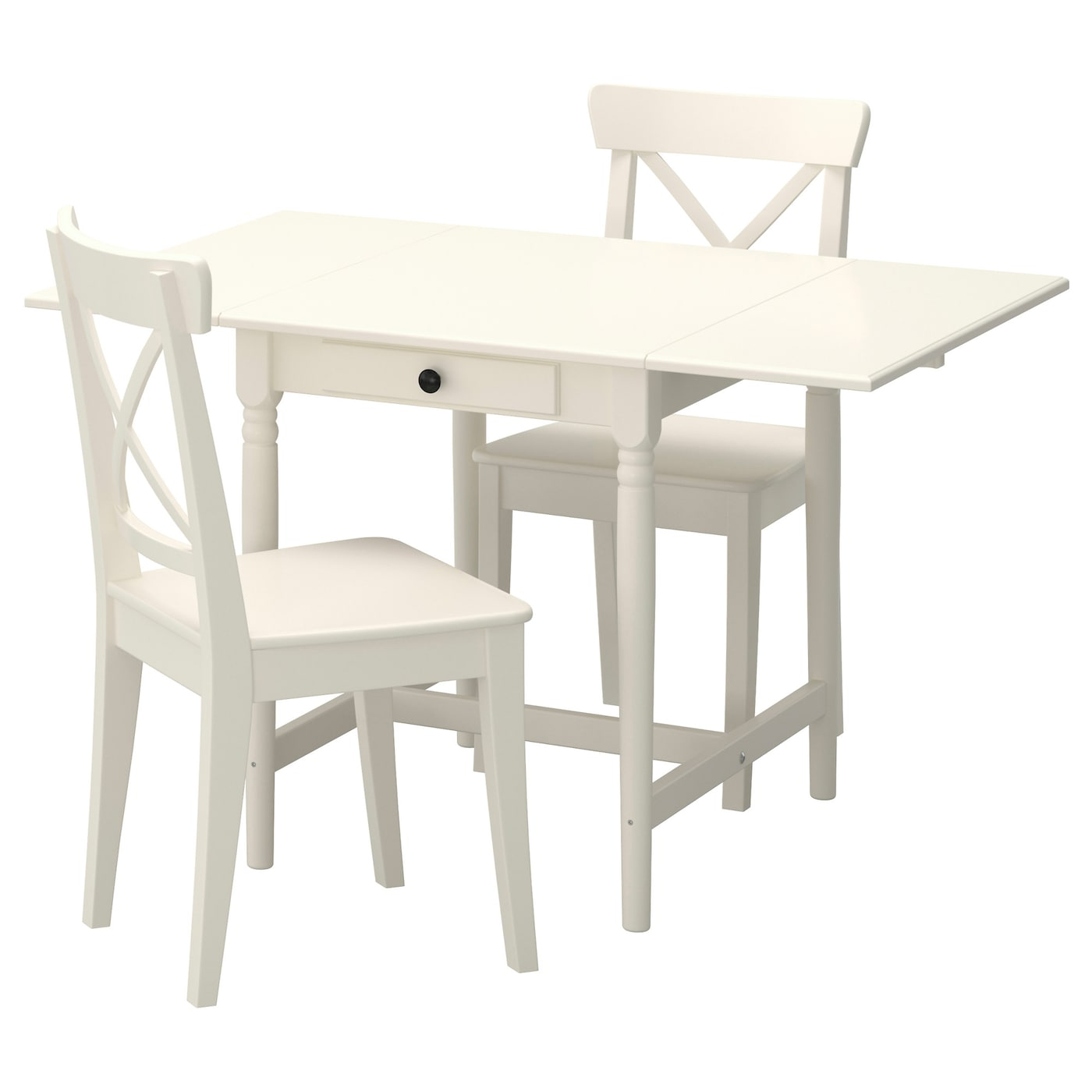 Elegant IKEA INGATORP/INGOLF Table And 2 Chairs The Clear Lacquered Surface Is Easy  To