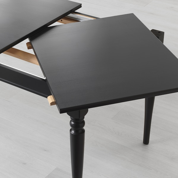 INGATORP / INGOLF Table and 4 chairs, black/brown-black, 155/215 cm