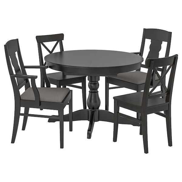 INGATORP / INGOLF Table and 4 chairs, black/Nolhaga grey/beige, 110/155 cm
