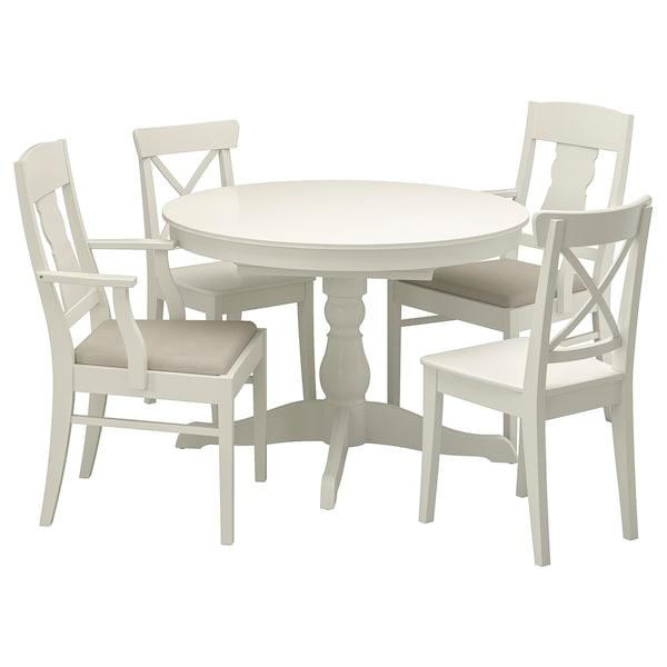 Ingatorp Ingolf White Nordvalla Beige Table And 4 Chairs Ikea