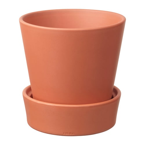 Ingefara Plant Pot With Saucer Outdoor Terracotta