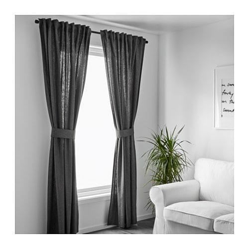 ingert curtains with tie backs 1 pair dark grey 145x250. Black Bedroom Furniture Sets. Home Design Ideas