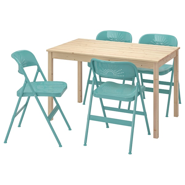 Ingo Frode Pine Turquoise Table And 4 Chairs Ikea