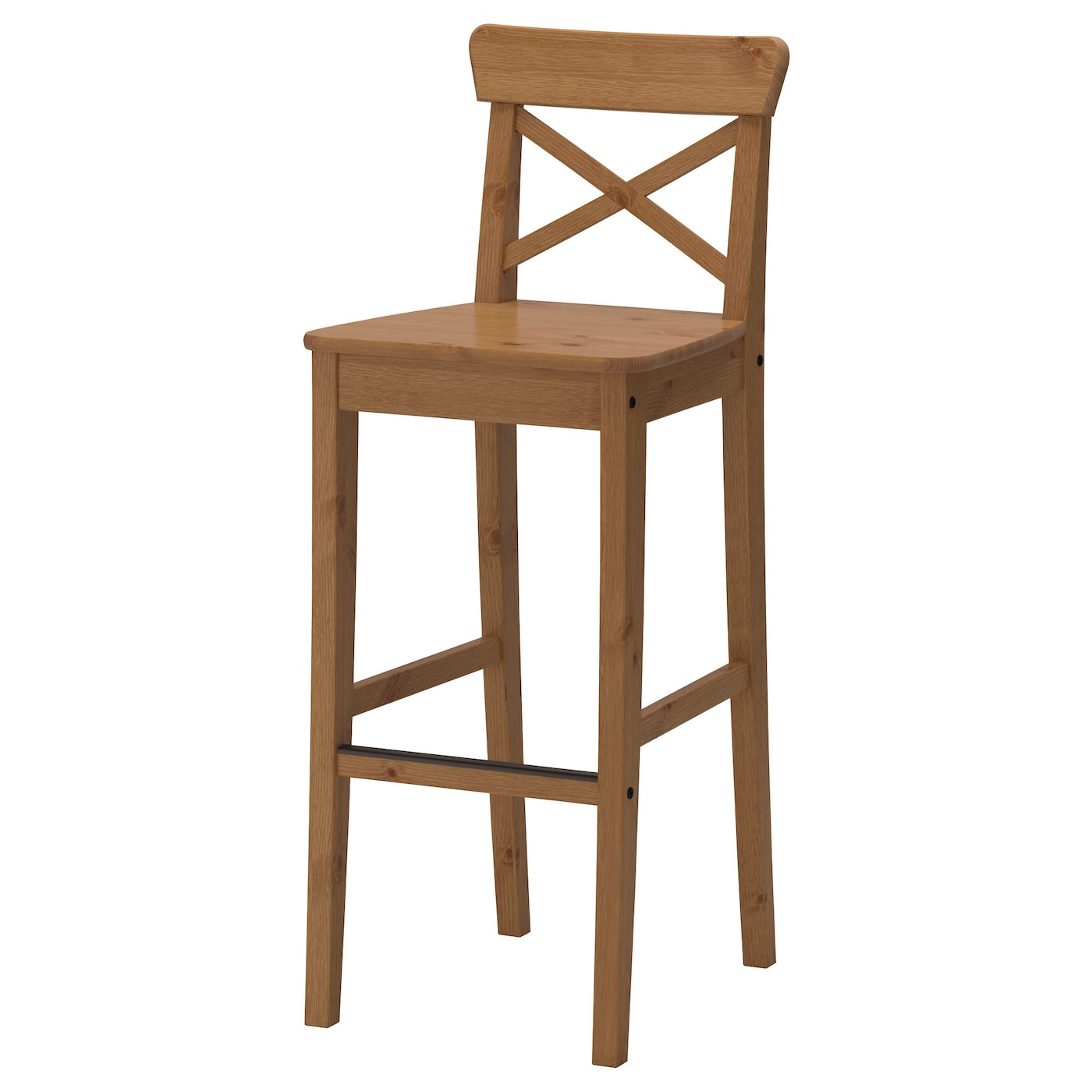 Ingolf bar stool with backrest antique stain cm ikea