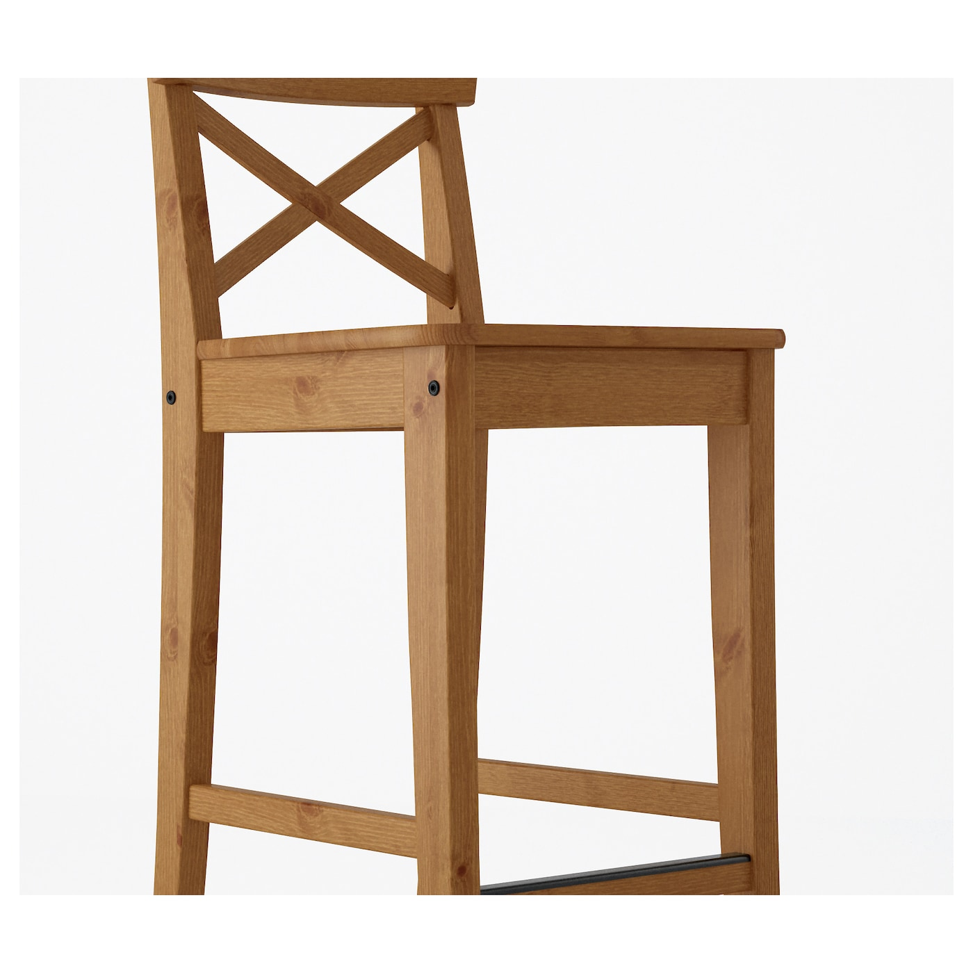 INGOLF Bar stool with backrest Antique stain 63 cm - IKEA