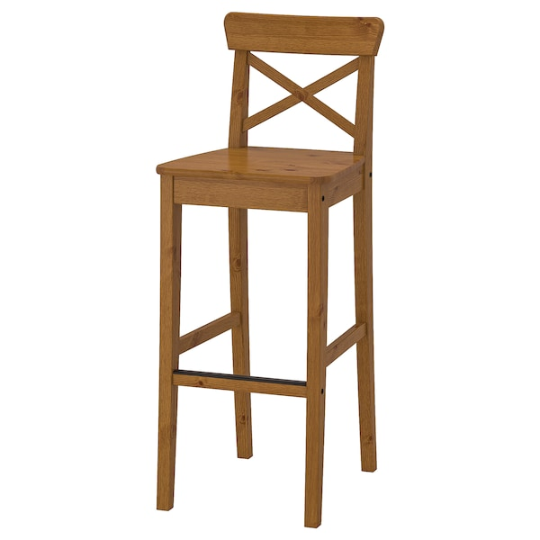 Swell Bar Stool With Backrest Ingolf Antique Stain Pabps2019 Chair Design Images Pabps2019Com