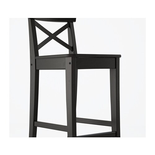 Ingolf Chair Brown Black: INGOLF Bar Stool With Backrest Brown-black 74 Cm
