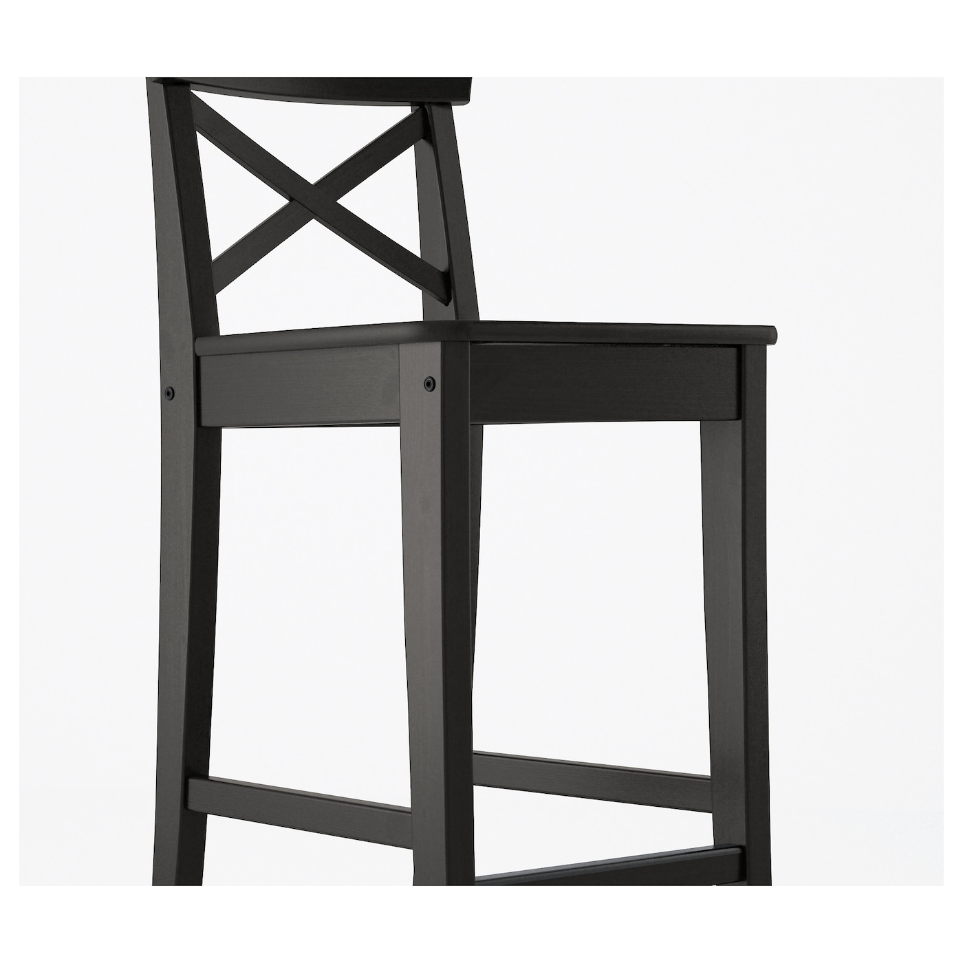 Ingolf Bar Stool With Backrest Brown Black 63 Cm Ikea