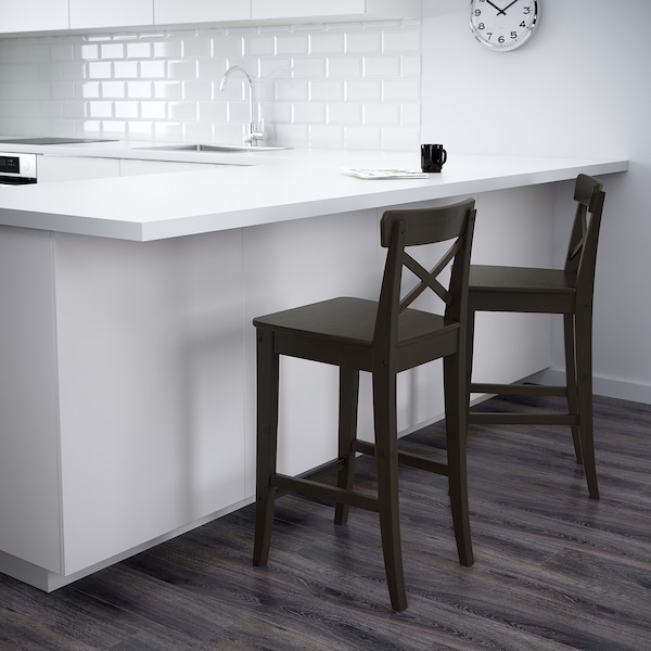 INGOLF Bar stool with backrest, brown-black, 63 cm