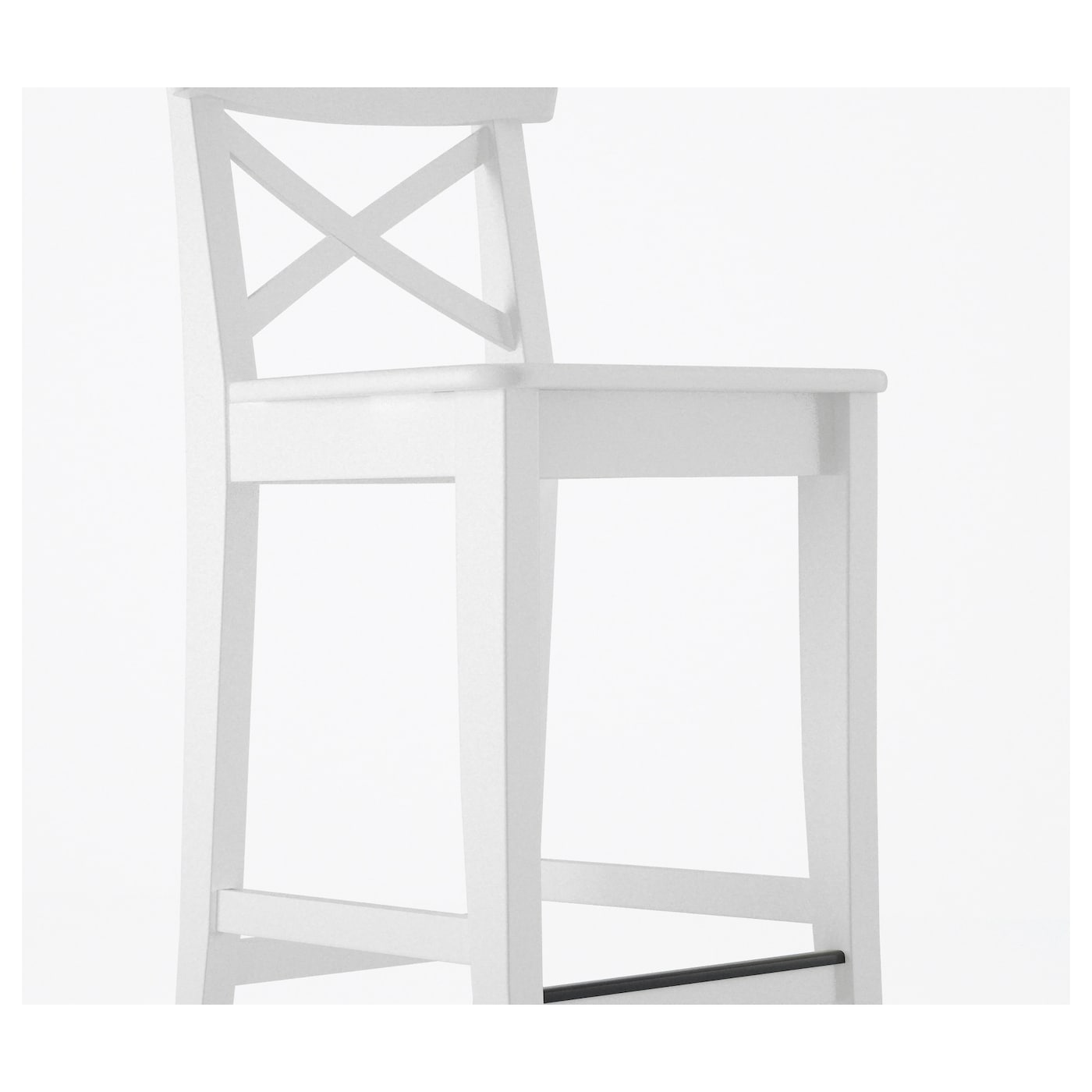 INGOLF Bar stool with backrest White 63 cm - IKEA