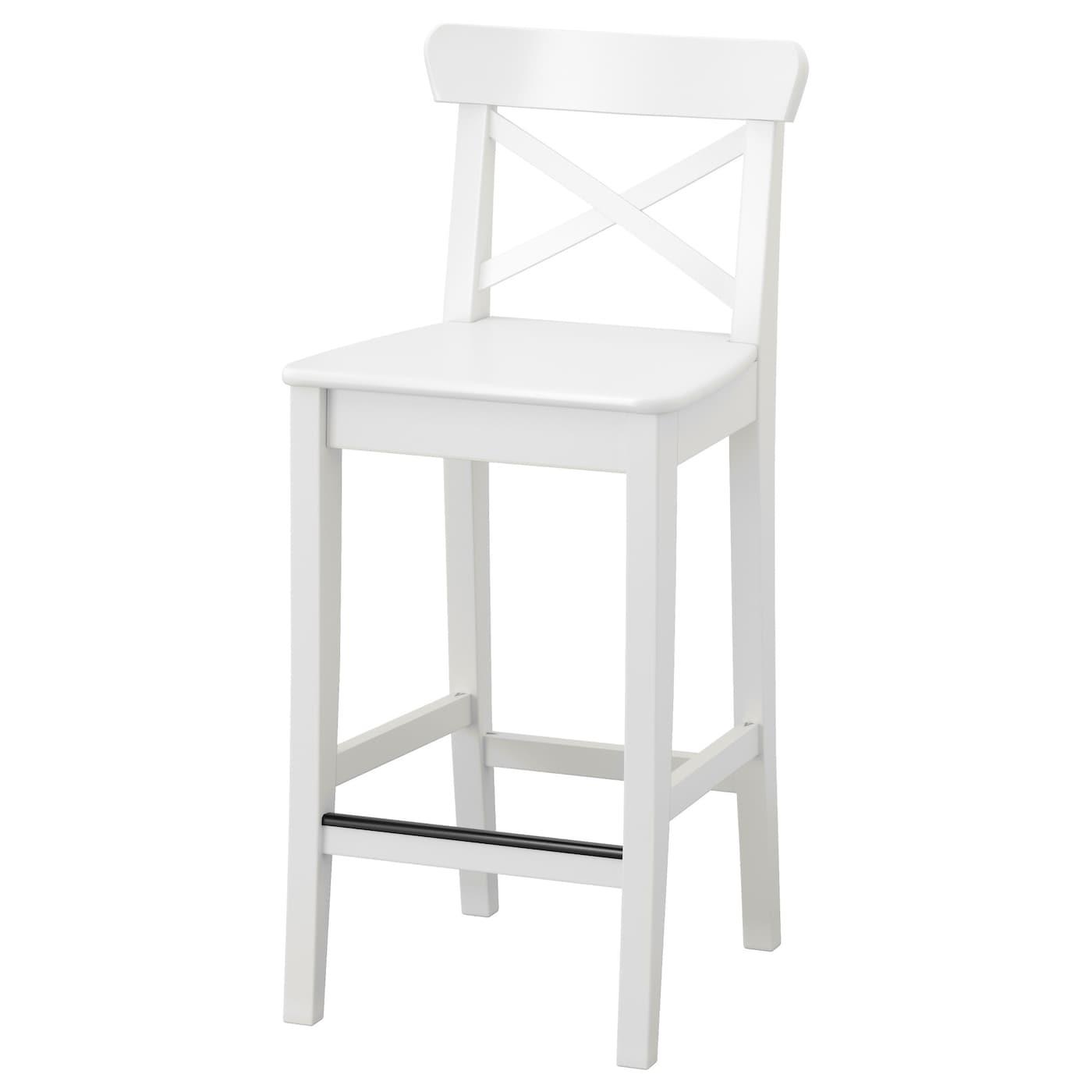 Ingolf Bar Stool With Backrest White 63 Cm Ikea