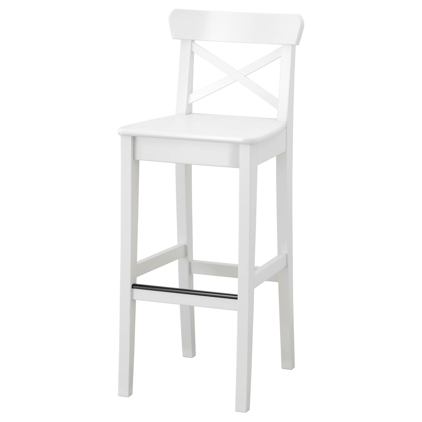 IKEA INGOLF bar stool with backrest With footrest for relaxed sitting posture.