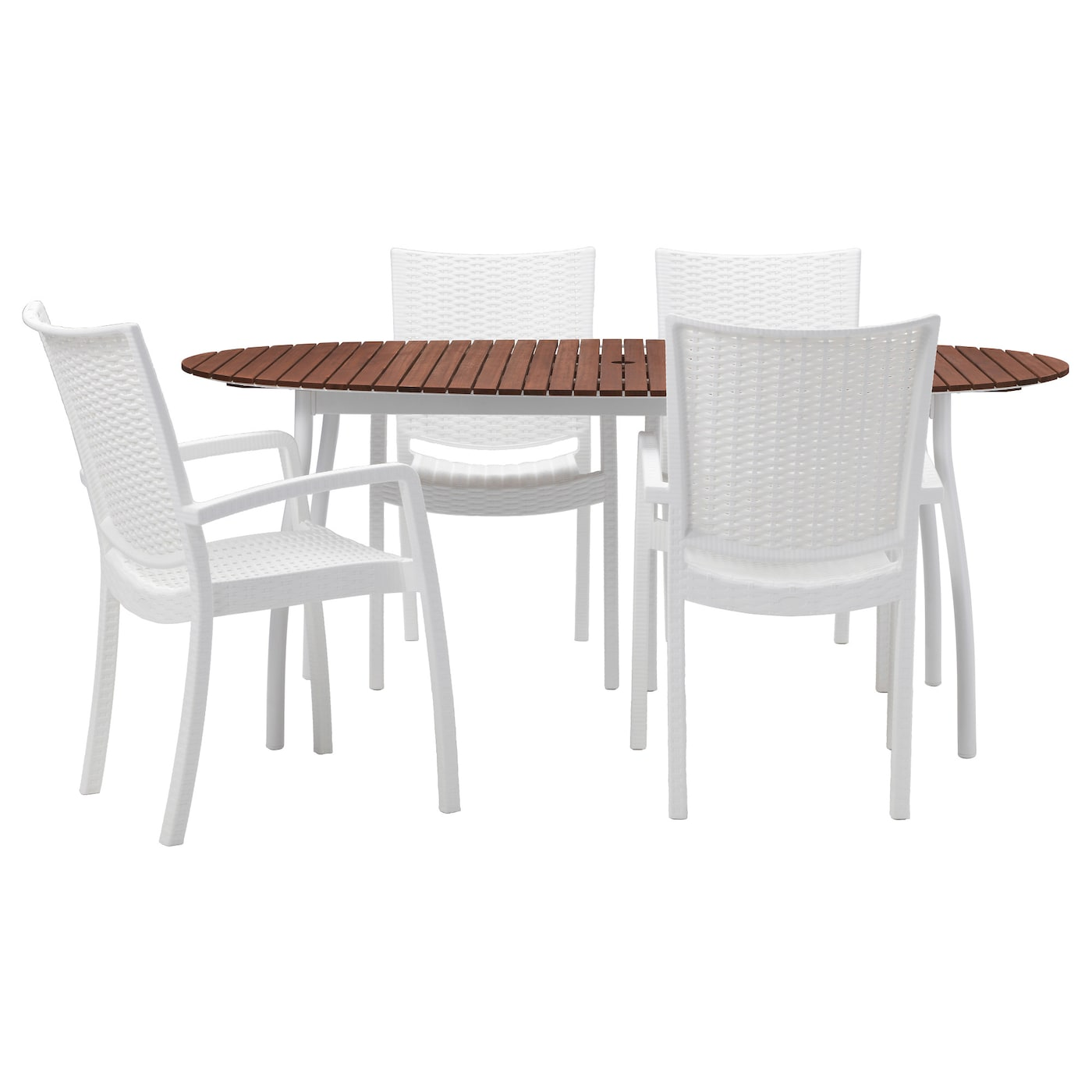 IKEA INNAMO/VINDALSÖ table+4 chairs w armrests, outdoor