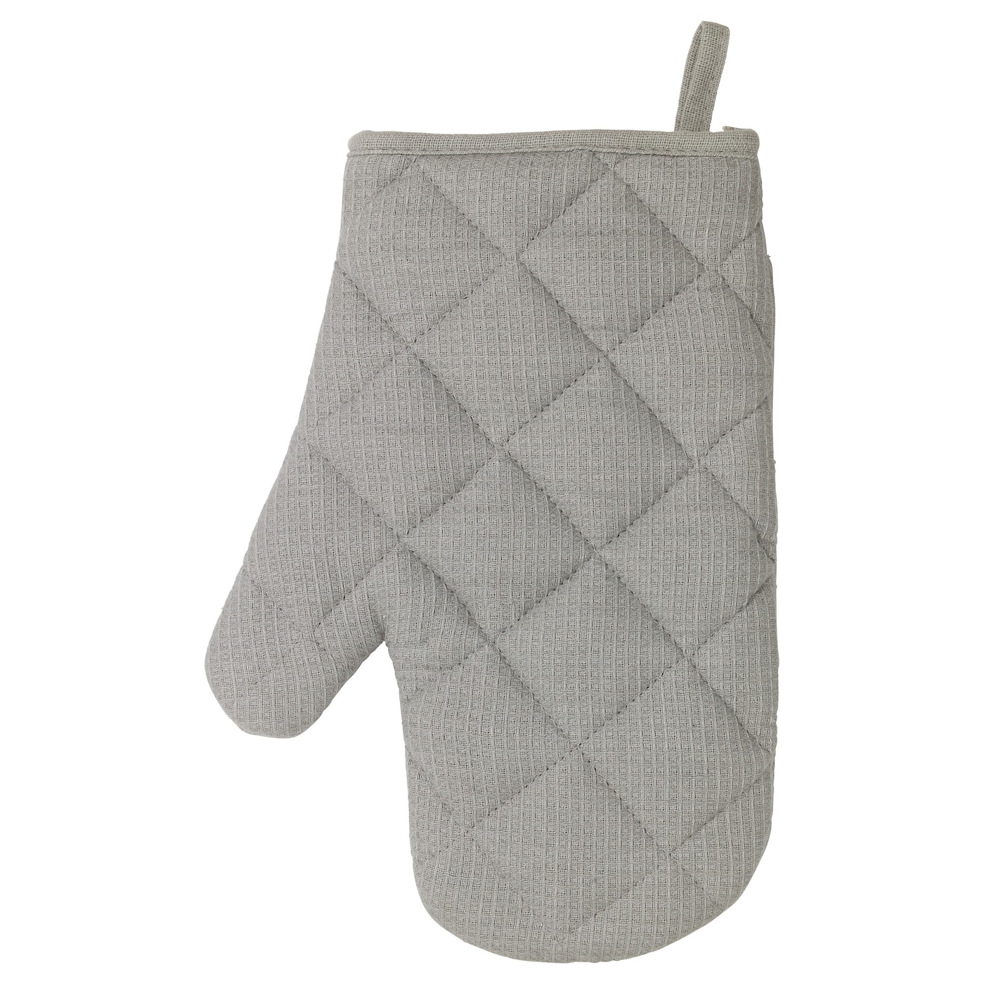 IKEA IRIS oven glove Felted polyester layer in between gives very good heat insulation.
