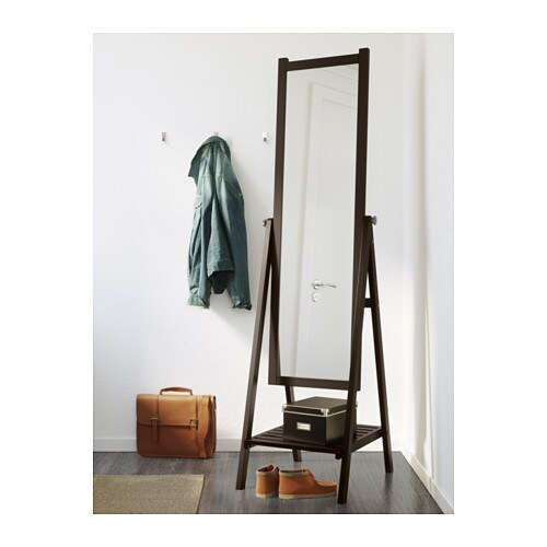 Isfjorden standing mirror black brown stain 47x182 cm ikea for Stand up mirror