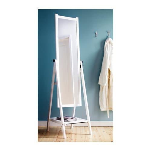 Isfjorden standing mirror white stain 47x182 cm ikea for Miroir en pied ikea