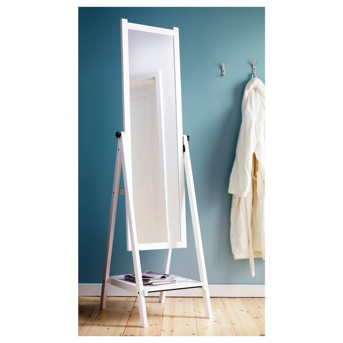 isfjorden standing mirror white stain 47x182 cm ikea. Black Bedroom Furniture Sets. Home Design Ideas