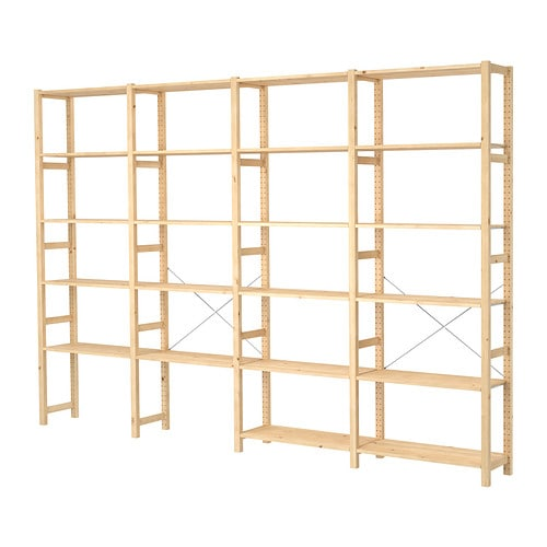 IVAR 4 sections/shelves IKEA Untreated solid pine is a durable natural material that can be painted, oiled or stained according to preference.