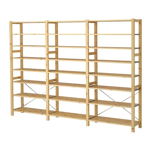 Ivar 3 sections shelves ikea for Etagere bois brut