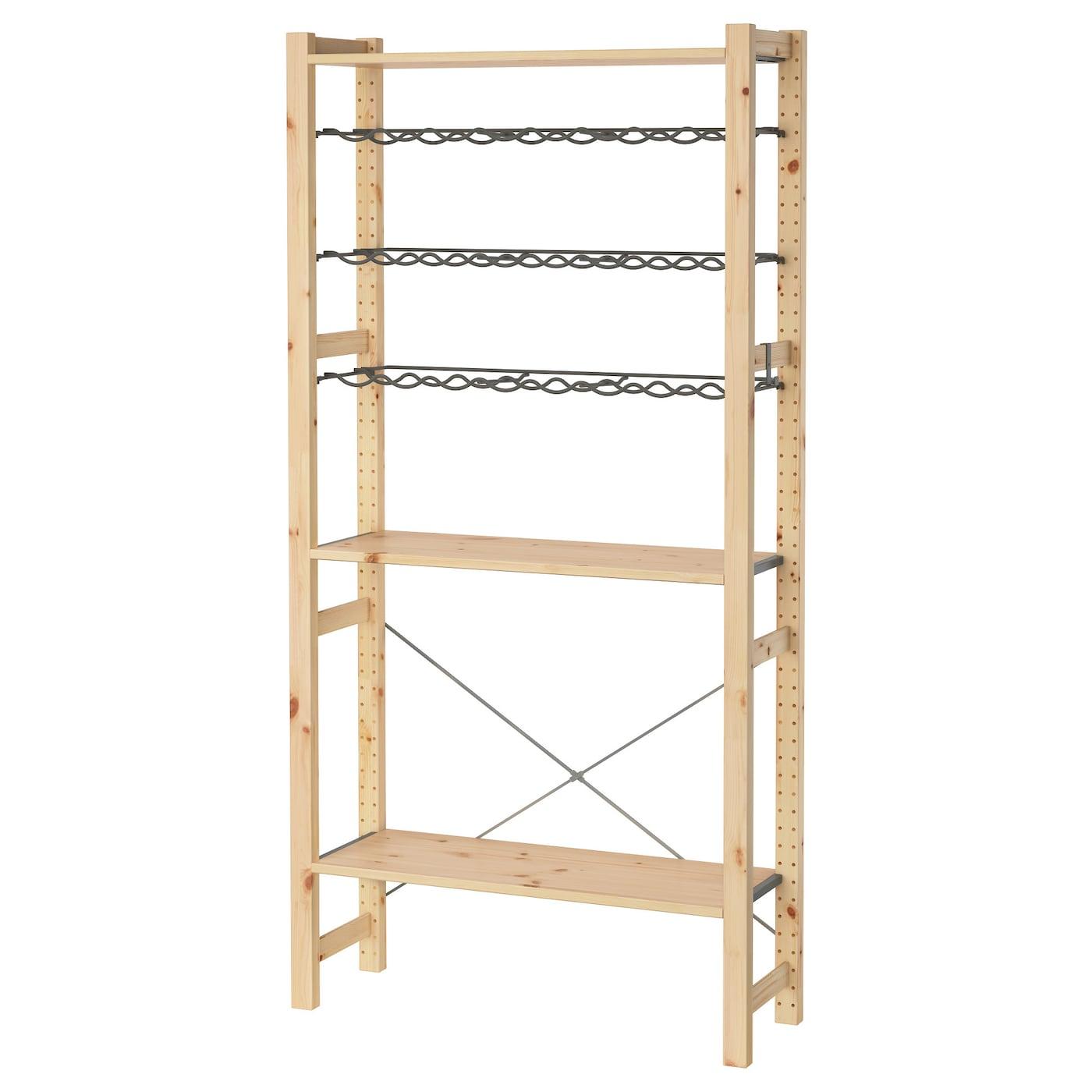ivar 1 section shelves bottle racks pine grey 89x30x179 cm. Black Bedroom Furniture Sets. Home Design Ideas