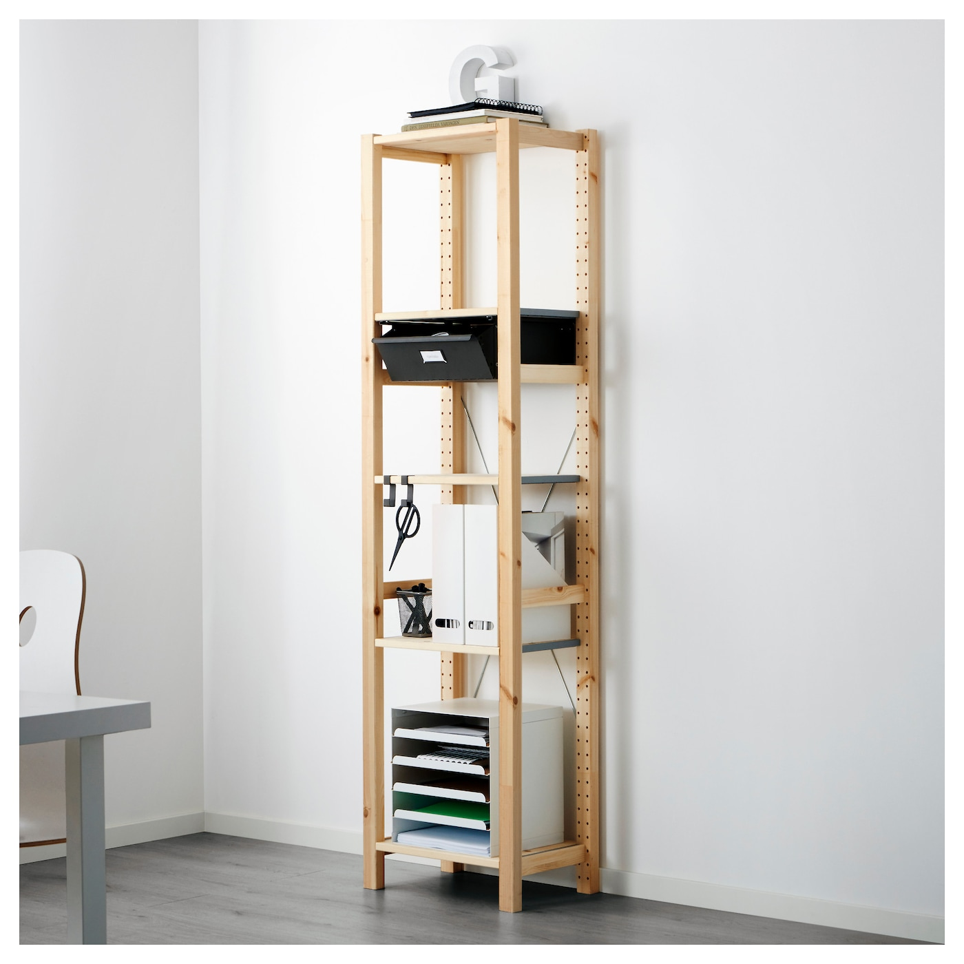 ivar 1 section shelves drawers pine grey 48x30x179 cm ikea. Black Bedroom Furniture Sets. Home Design Ideas